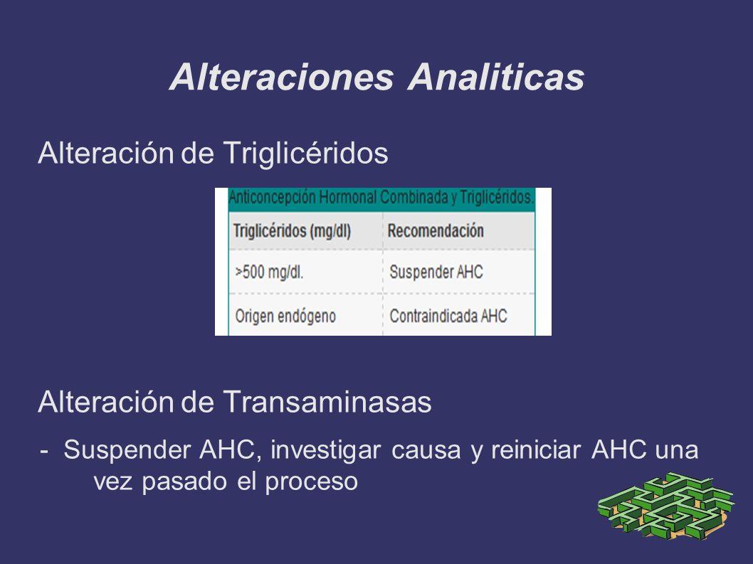 Alteraciones Analiticas Alteración de Triglicéridos Alteración de Transaminasas - Suspender AHC, investigar causa y reiniciar AHC una vez pasado el pr