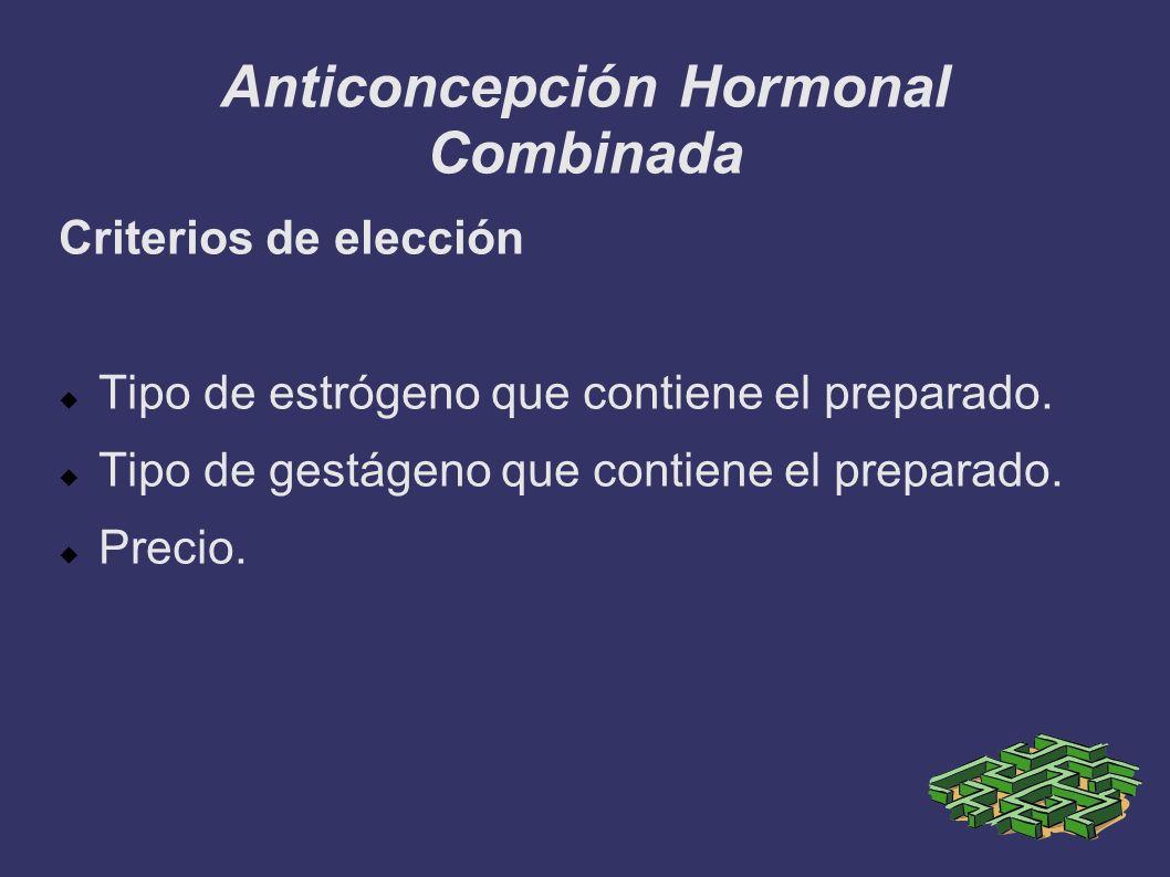 Anticoncepción Hormonal Combinada Criterios de elección Tipo de estrógeno que contiene el preparado. Tipo de gestágeno que contiene el preparado. Prec