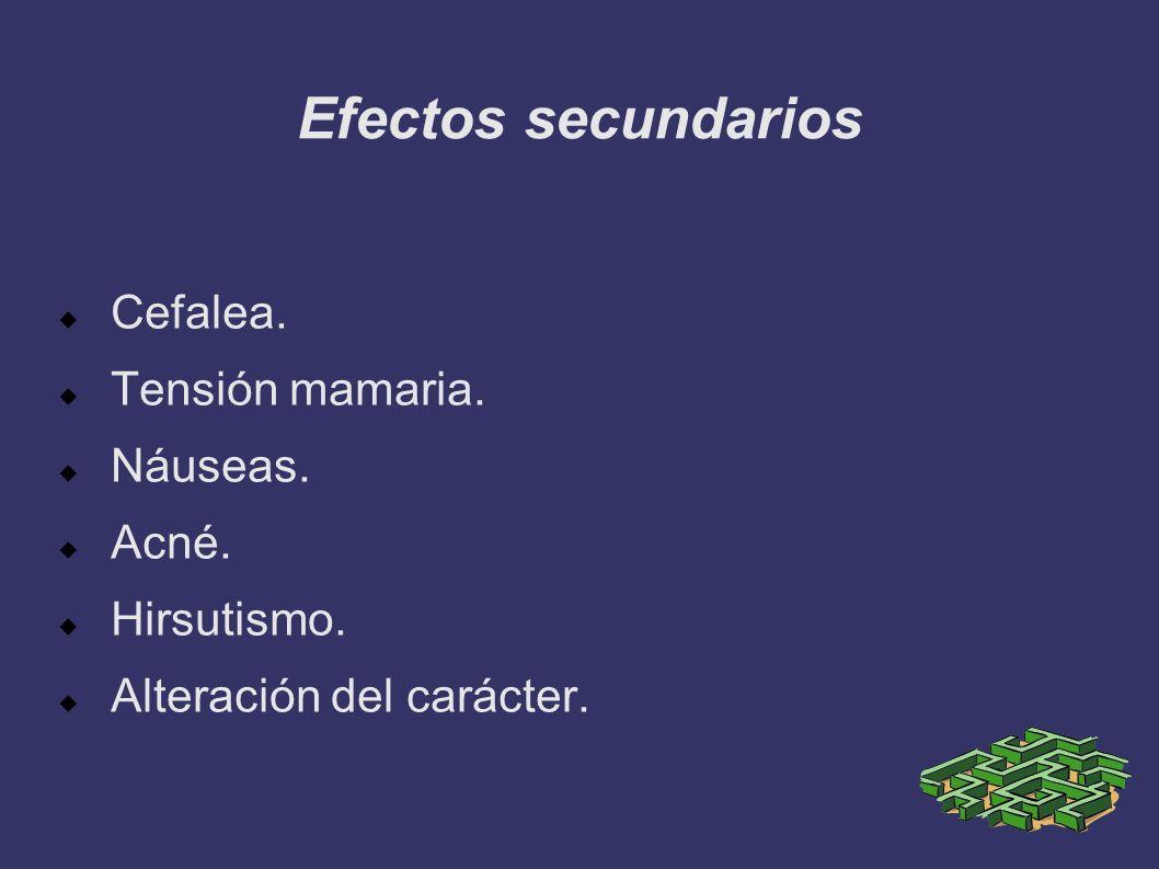 Efectos secundarios Cefalea. Tensión mamaria. Náuseas. Acné. Hirsutismo. Alteración del carácter.