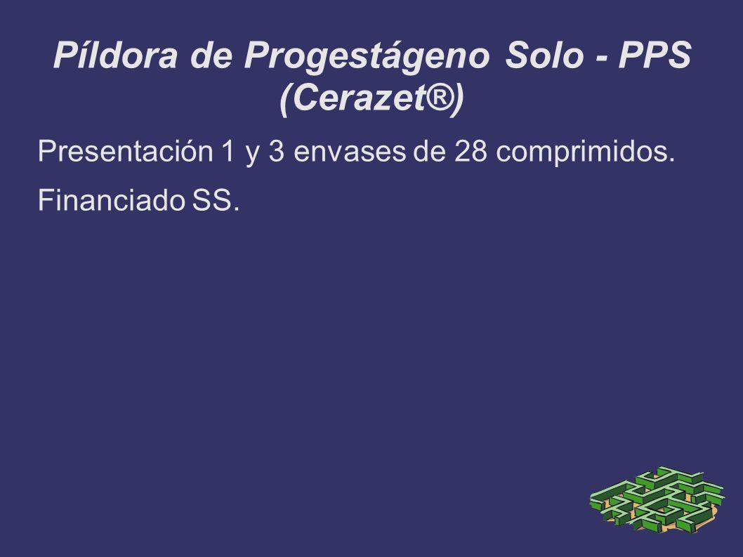Píldora de Progestágeno Solo - PPS (Cerazet®) Presentación 1 y 3 envases de 28 comprimidos. Financiado SS.