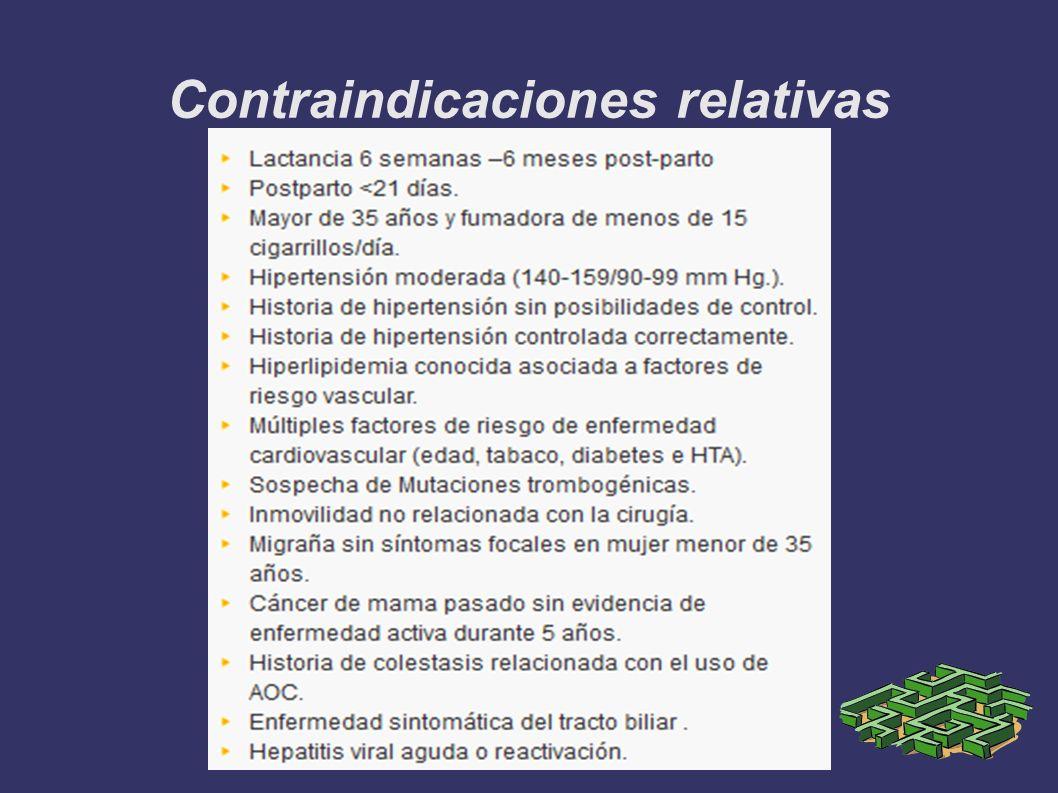 Contraindicaciones relativas