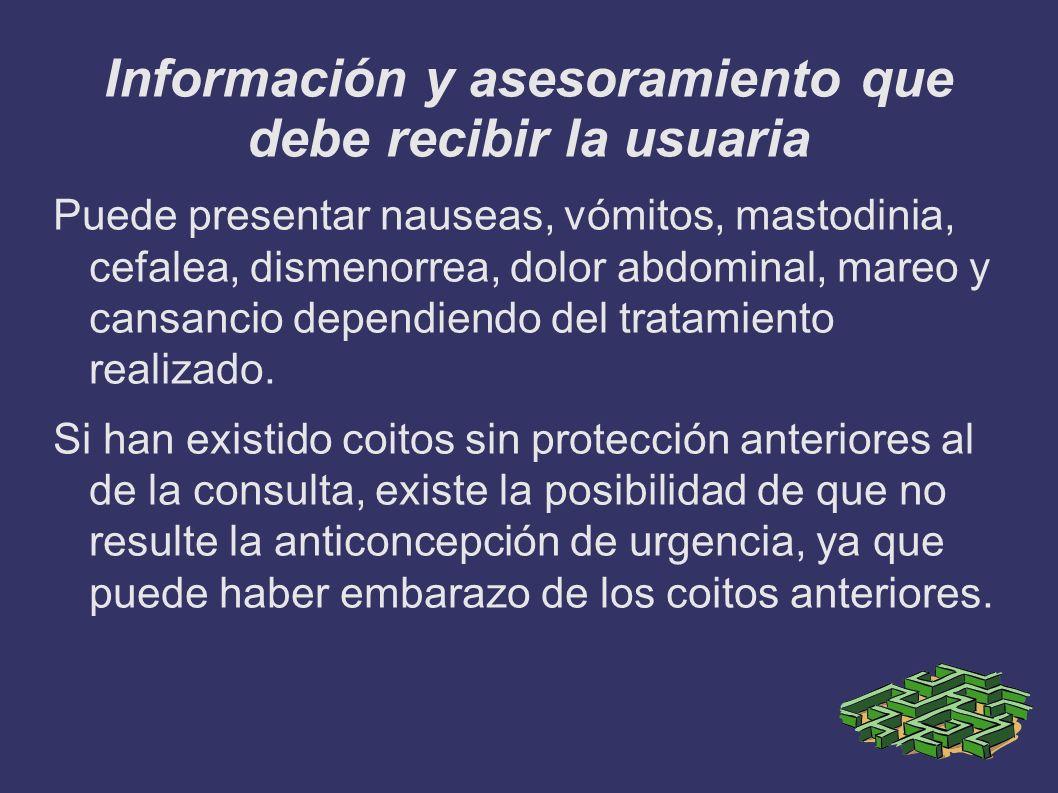 Información y asesoramiento que debe recibir la usuaria Puede presentar nauseas, vómitos, mastodinia, cefalea, dismenorrea, dolor abdominal, mareo y c