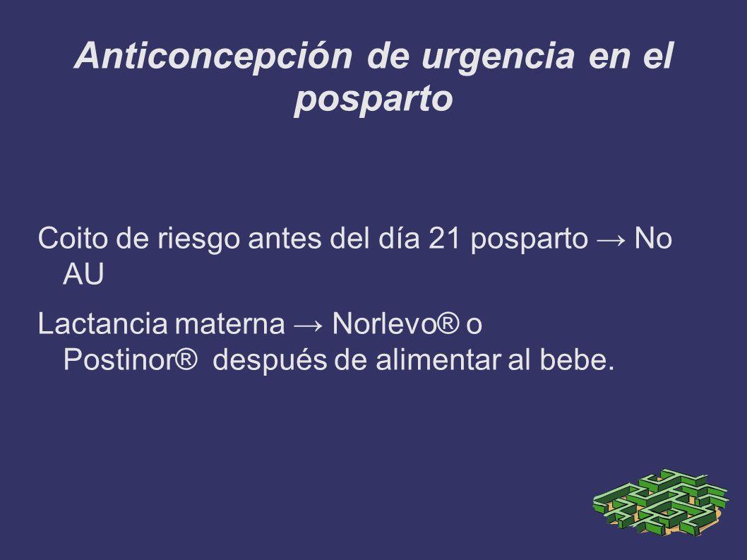 Anticoncepción de urgencia en el posparto Coito de riesgo antes del día 21 posparto No AU Lactancia materna Norlevo® o Postinor® después de alimentar