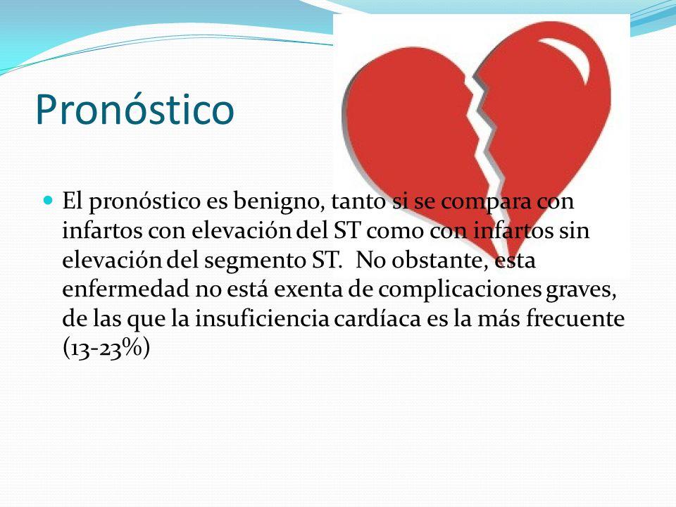 Pronóstico El pronóstico es benigno, tanto si se compara con infartos con elevación del ST como con infartos sin elevación del segmento ST.