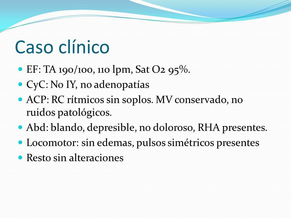Caso clínico EF: TA 190/100, 110 lpm, Sat O2 95%.