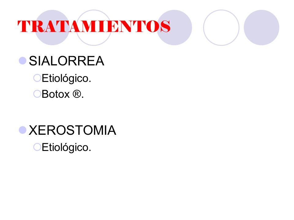 TRATAMIENTOS SIALORREA Etiológico. Botox ®. XEROSTOMIA Etiológico.