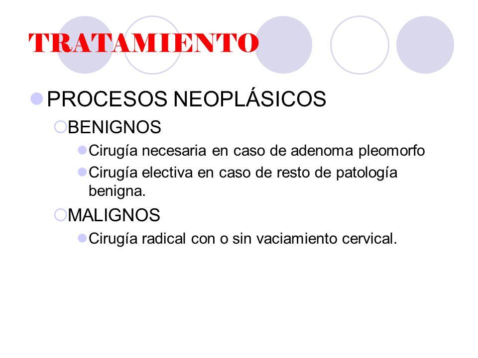 TRATAMIENTO PROCESOS NEOPLÁSICOS BENIGNOS Cirugía necesaria en caso de adenoma pleomorfo Cirugía electiva en caso de resto de patología benigna.