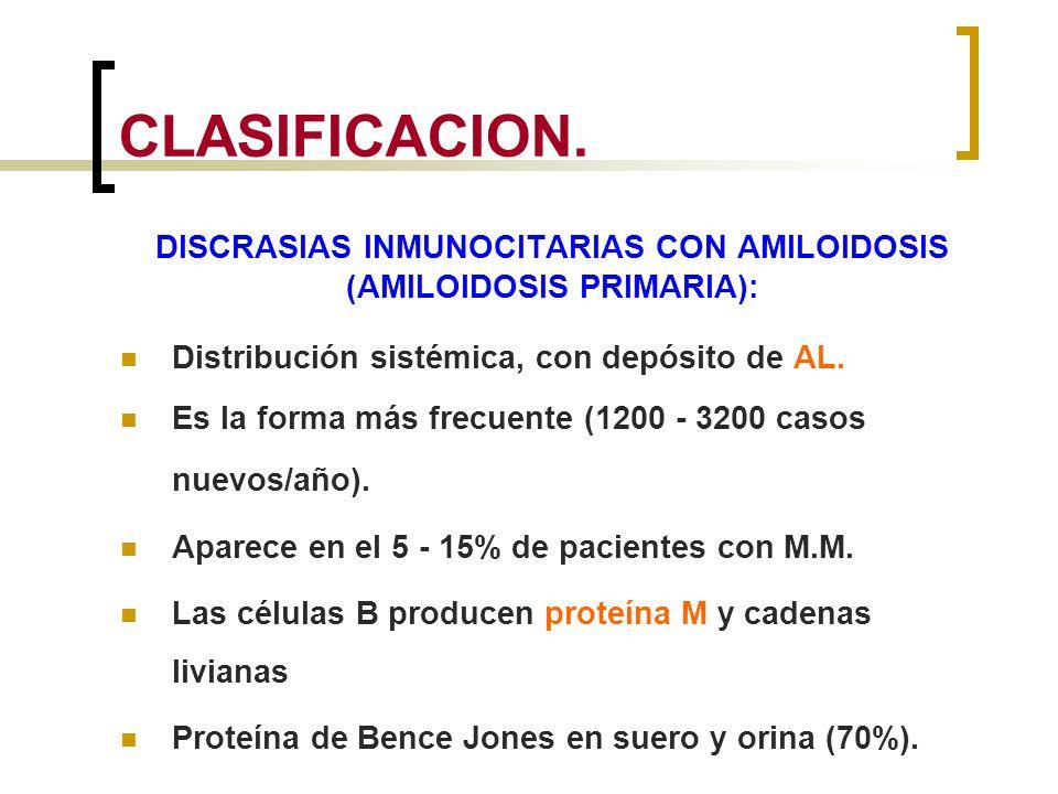 CLASIFICACION. DISCRASIAS INMUNOCITARIAS CON AMILOIDOSIS (AMILOIDOSIS PRIMARIA): Distribución sistémica, con depósito de AL. Es la forma más frecuente
