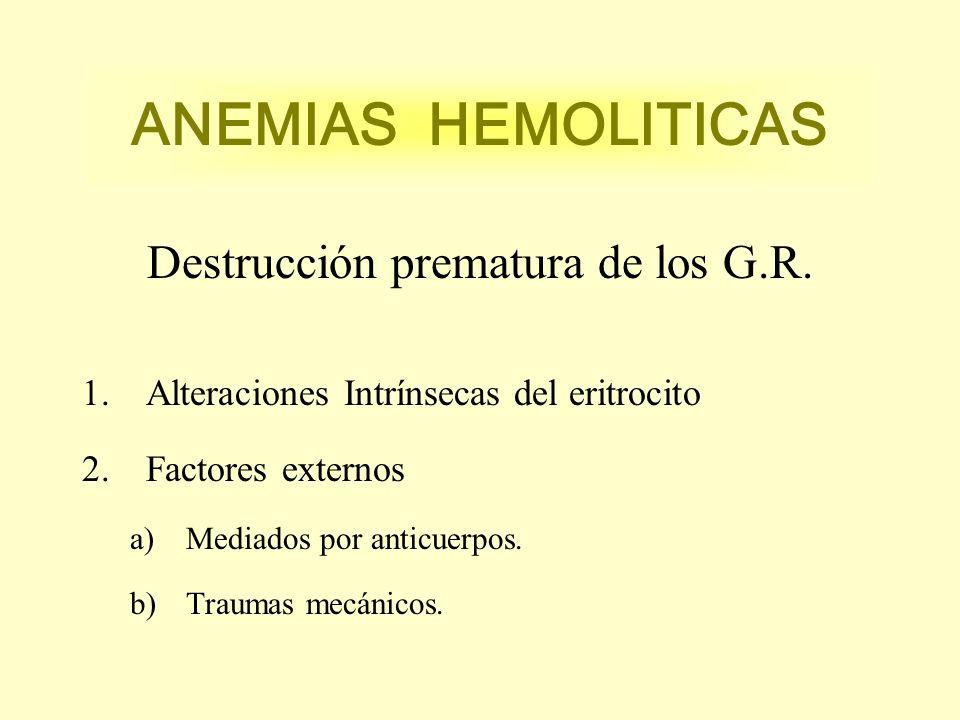 ANEMIAS HEMOLITICAS Destrucción prematura de los G.R. 1.Alteraciones Intrínsecas del eritrocito 2.Factores externos a)Mediados por anticuerpos. b)Trau