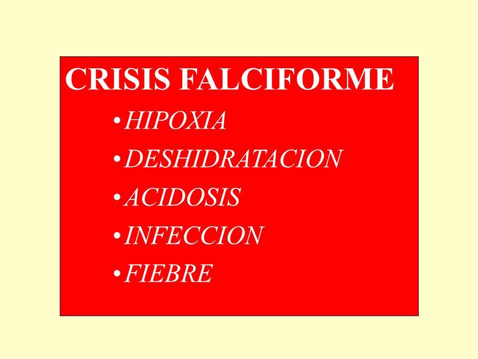 CRISIS FALCIFORME HIPOXIA DESHIDRATACION ACIDOSIS INFECCION FIEBRE