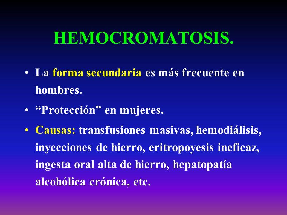 HEMOCROMATOSIS. La forma secundaria es más frecuente en hombres. Protección en mujeres. Causas: transfusiones masivas, hemodiálisis, inyecciones de hi