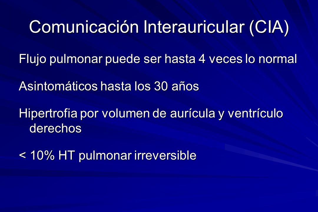 Comunicación Interauricular (CIA) Flujo pulmonar puede ser hasta 4 veces lo normal Asintomáticos hasta los 30 años Hipertrofia por volumen de aurícula