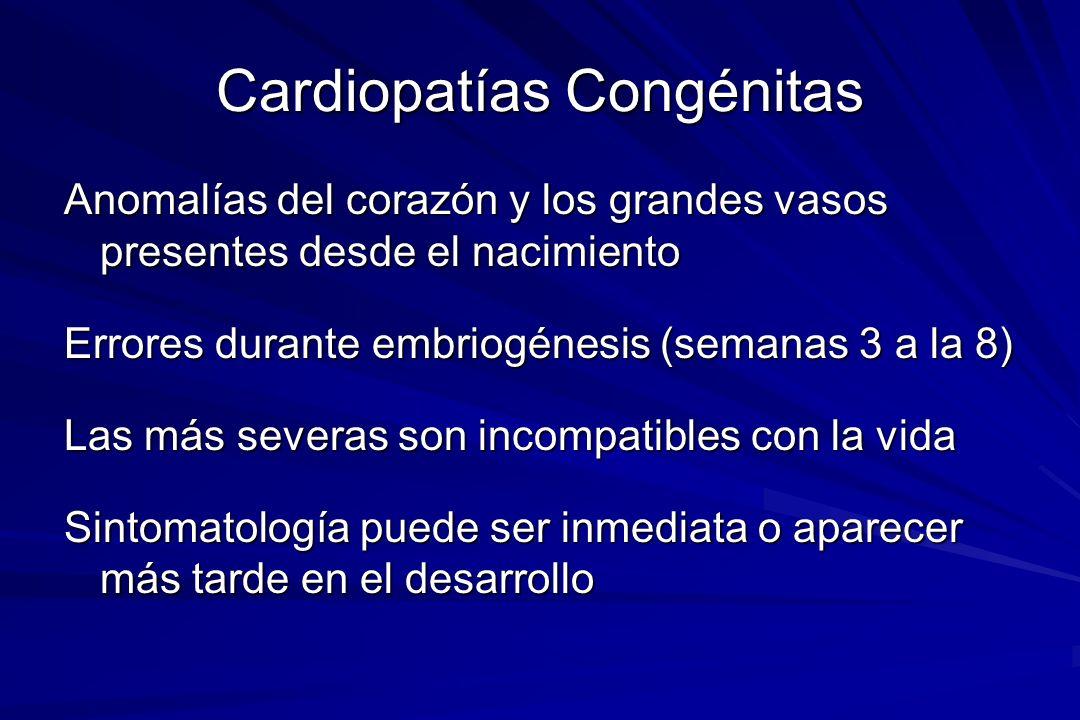 Cardiopatías Congénitas Anomalías del corazón y los grandes vasos presentes desde el nacimiento Errores durante embriogénesis (semanas 3 a la 8) Las m