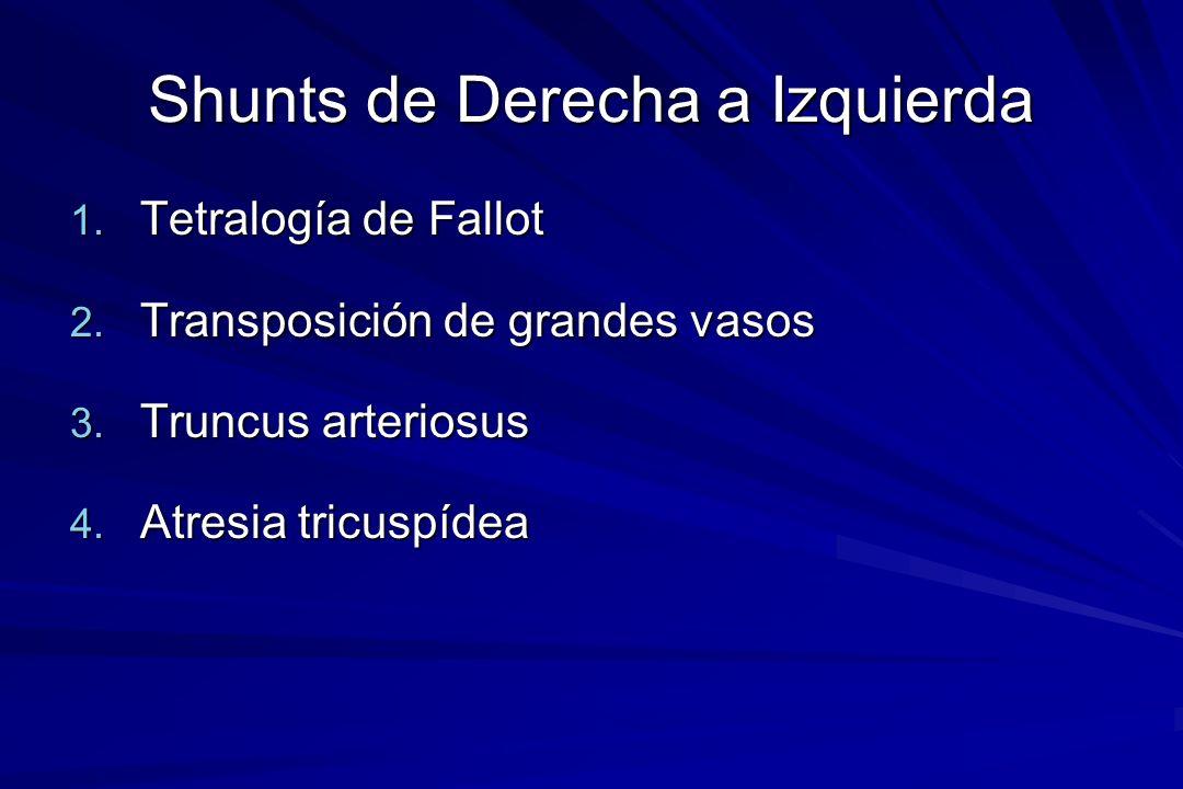 Shunts de Derecha a Izquierda 1. Tetralogía de Fallot 2. Transposición de grandes vasos 3. Truncus arteriosus 4. Atresia tricuspídea