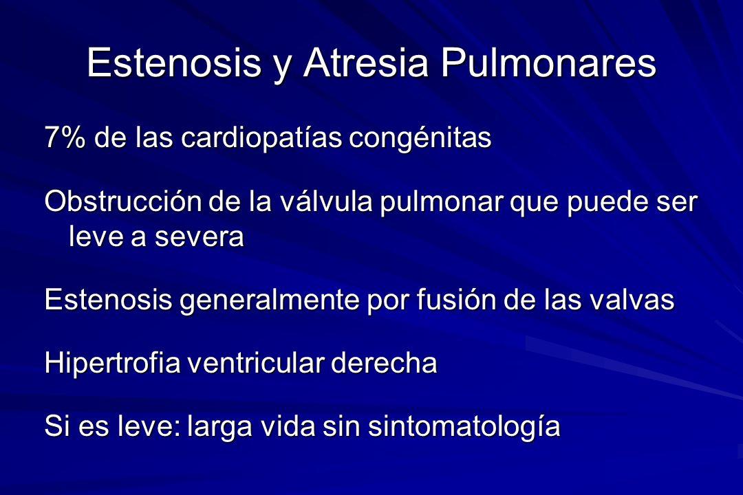 Estenosis y Atresia Pulmonares 7% de las cardiopatías congénitas Obstrucción de la válvula pulmonar que puede ser leve a severa Estenosis generalmente
