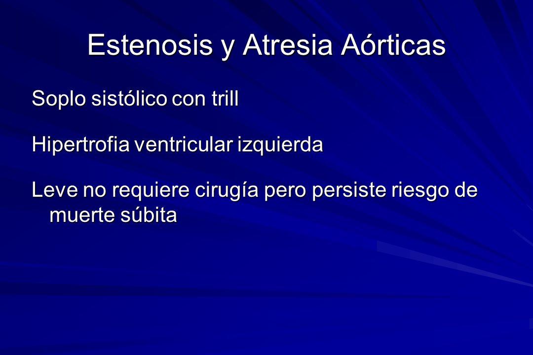 Estenosis y Atresia Aórticas Soplo sistólico con trill Hipertrofia ventricular izquierda Leve no requiere cirugía pero persiste riesgo de muerte súbit