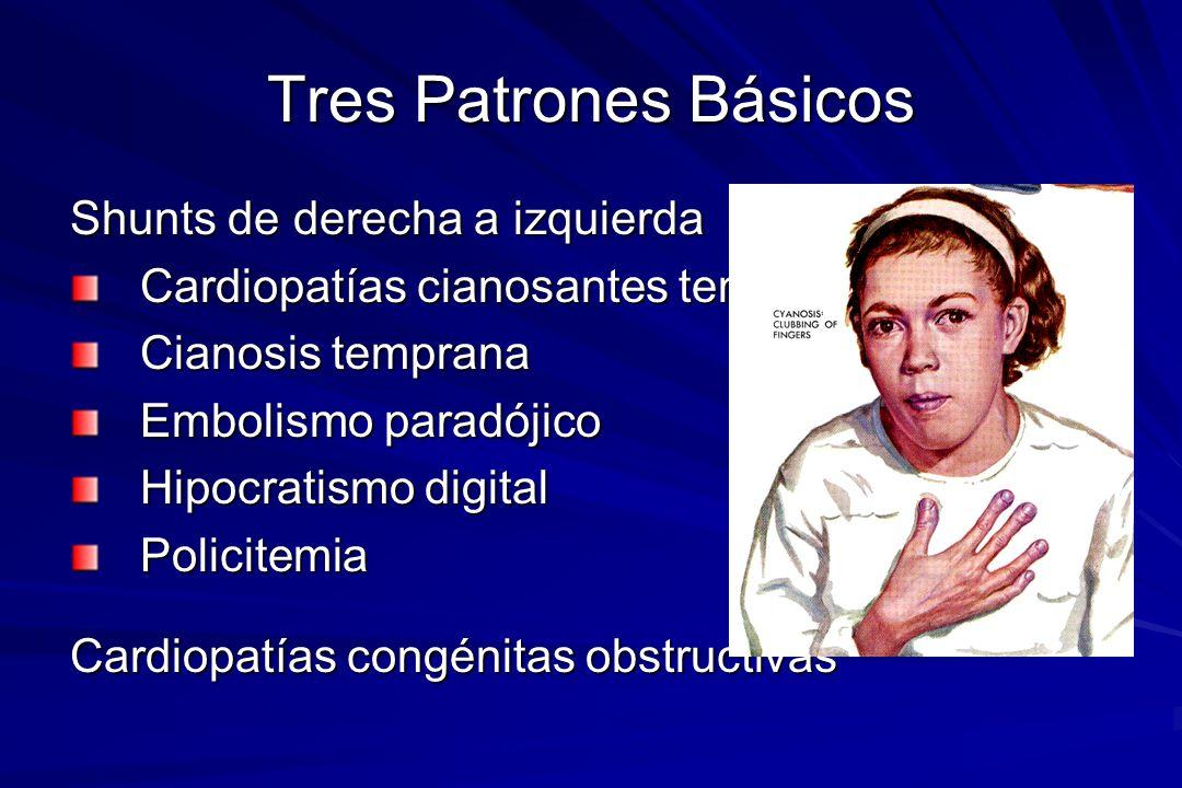Tres Patrones Básicos Shunts de derecha a izquierda Cardiopatías cianosantes tempranas Cianosis temprana Embolismo paradójico Hipocratismo digital Pol