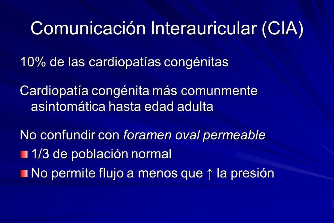 Comunicación Interauricular (CIA) Tres tipos Ostium primum (5%) –Parte baja del septum auricular adyacente a las válvulas AV Ostium secundum (90%) –Fosa oval deficiente o fenestrada Sinus venosus (5%) –Parte alta del septum auricular cerca a la entrada de la vena cava superior