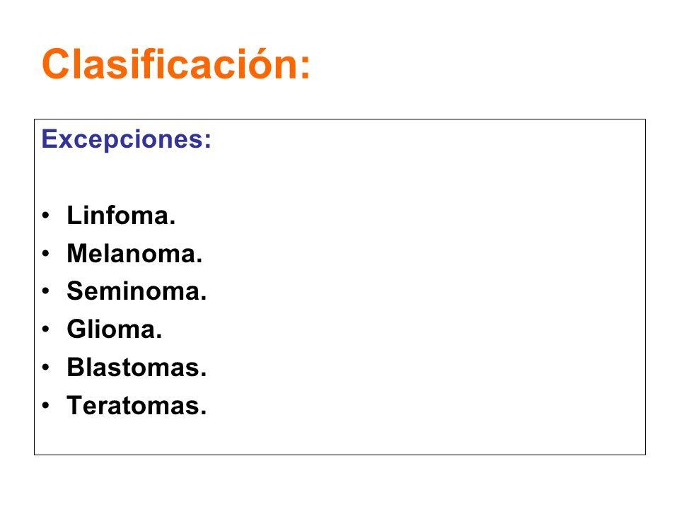 Clasificación: Excepciones: Linfoma. Melanoma. Seminoma. Glioma. Blastomas. Teratomas.
