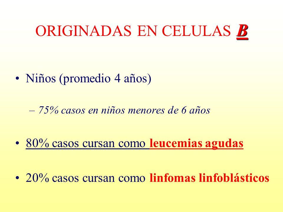 B ORIGINADAS EN CELULAS B Niños (promedio 4 años) –75% casos en niños menores de 6 años 80% casos cursan como leucemias agudas 20% casos cursan como l