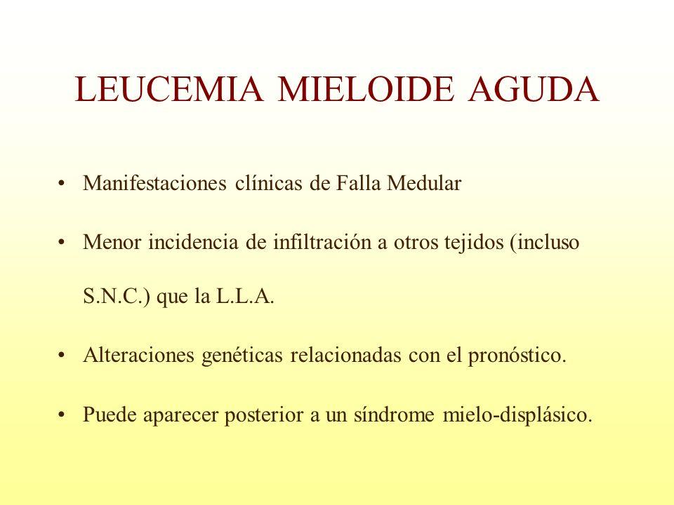 Manifestaciones clínicas de Falla Medular Menor incidencia de infiltración a otros tejidos (incluso S.N.C.) que la L.L.A. Alteraciones genéticas relac