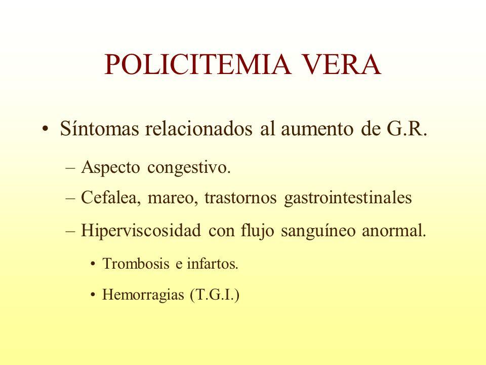 POLICITEMIA VERA Síntomas relacionados al aumento de G.R. –Aspecto congestivo. –Cefalea, mareo, trastornos gastrointestinales –Hiperviscosidad con flu