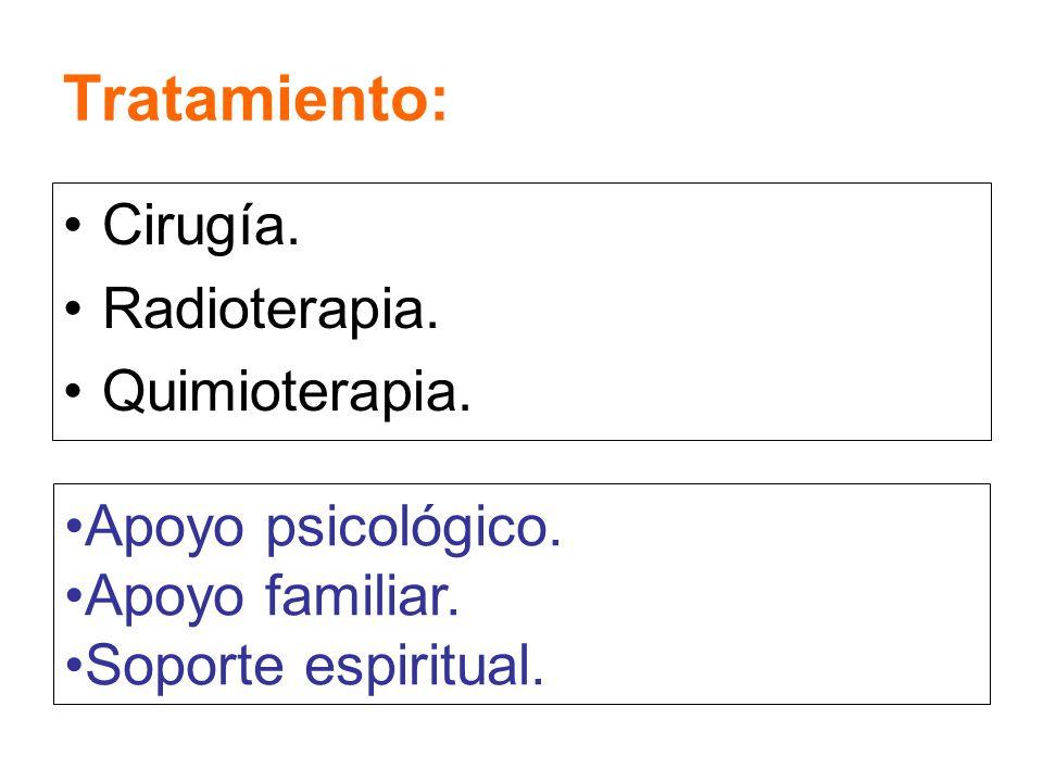 Tratamiento: Cirugía. Radioterapia. Quimioterapia. Apoyo psicológico. Apoyo familiar. Soporte espiritual.