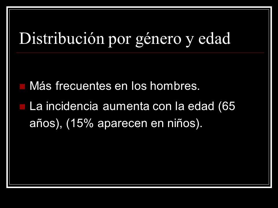Más frecuentes en los hombres. La incidencia aumenta con la edad (65 años), (15% aparecen en niños). Distribución por género y edad