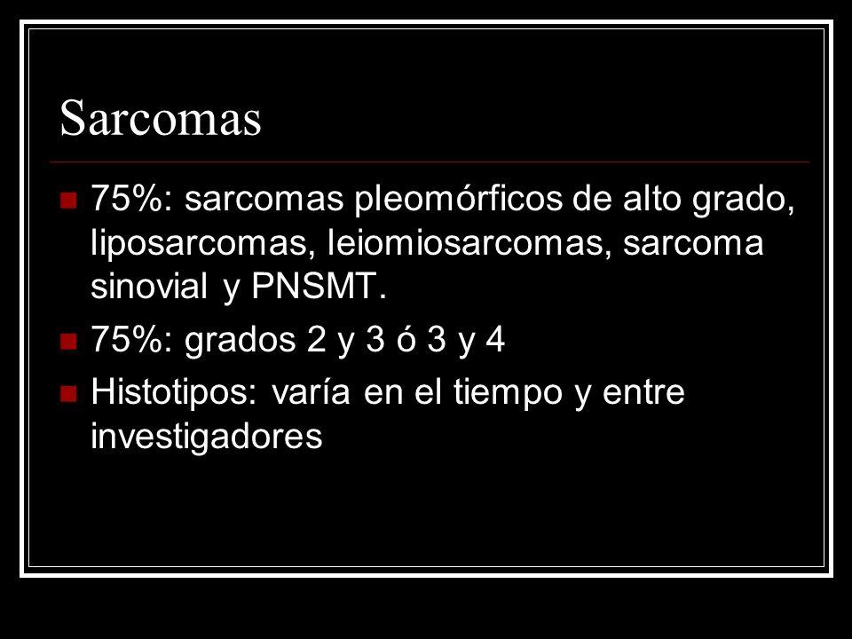 Sarcomas 75%: sarcomas pleomórficos de alto grado, liposarcomas, leiomiosarcomas, sarcoma sinovial y PNSMT. 75%: grados 2 y 3 ó 3 y 4 Histotipos: varí