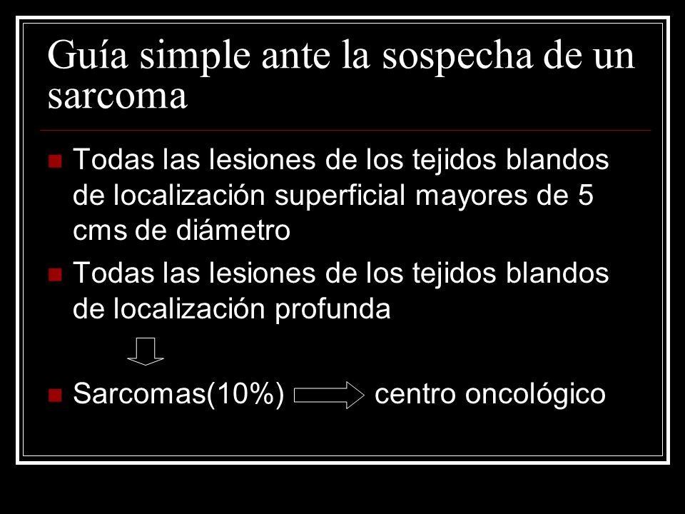 Guía simple ante la sospecha de un sarcoma Todas las lesiones de los tejidos blandos de localización superficial mayores de 5 cms de diámetro Todas la