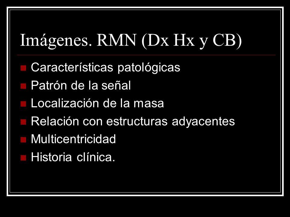 Imágenes. RMN (Dx Hx y CB) Características patológicas Patrón de la señal Localización de la masa Relación con estructuras adyacentes Multicentricidad