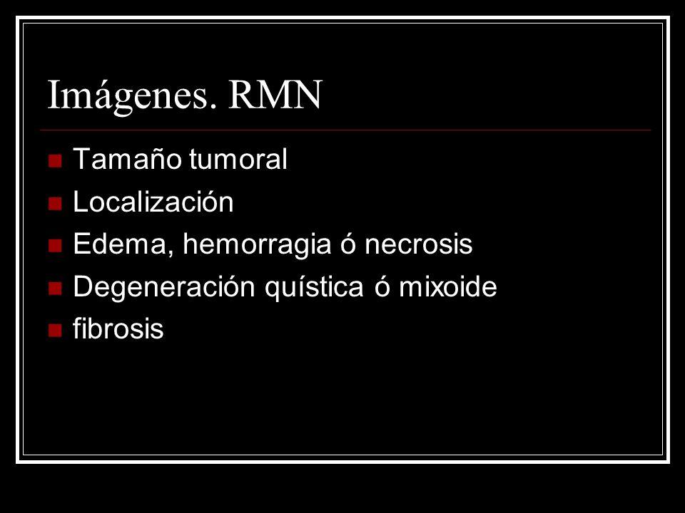 Imágenes. RMN Tamaño tumoral Localización Edema, hemorragia ó necrosis Degeneración quística ó mixoide fibrosis