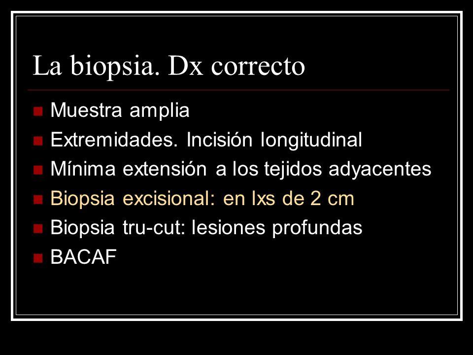 La biopsia. Dx correcto Muestra amplia Extremidades. Incisión longitudinal Mínima extensión a los tejidos adyacentes Biopsia excisional: en lxs de 2 c