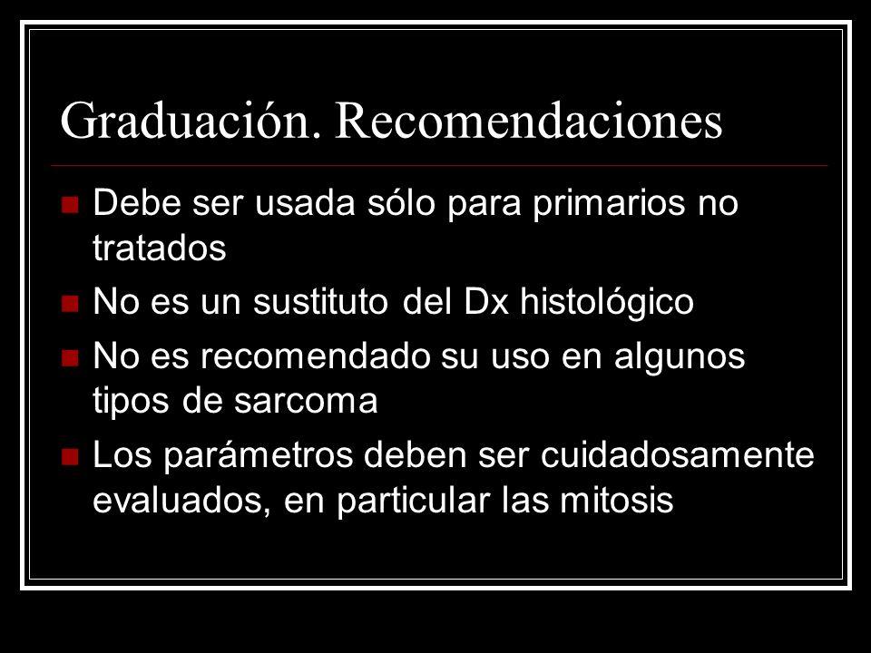 Graduación. Recomendaciones Debe ser usada sólo para primarios no tratados No es un sustituto del Dx histológico No es recomendado su uso en algunos t