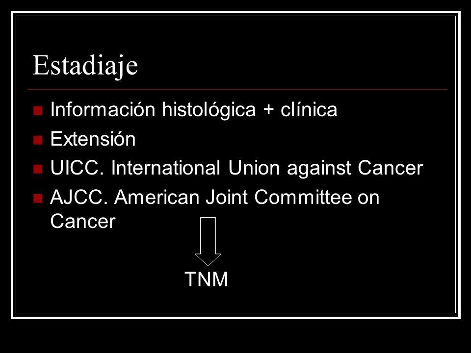 Estadiaje Información histológica + clínica Extensión UICC. International Union against Cancer AJCC. American Joint Committee on Cancer TNM