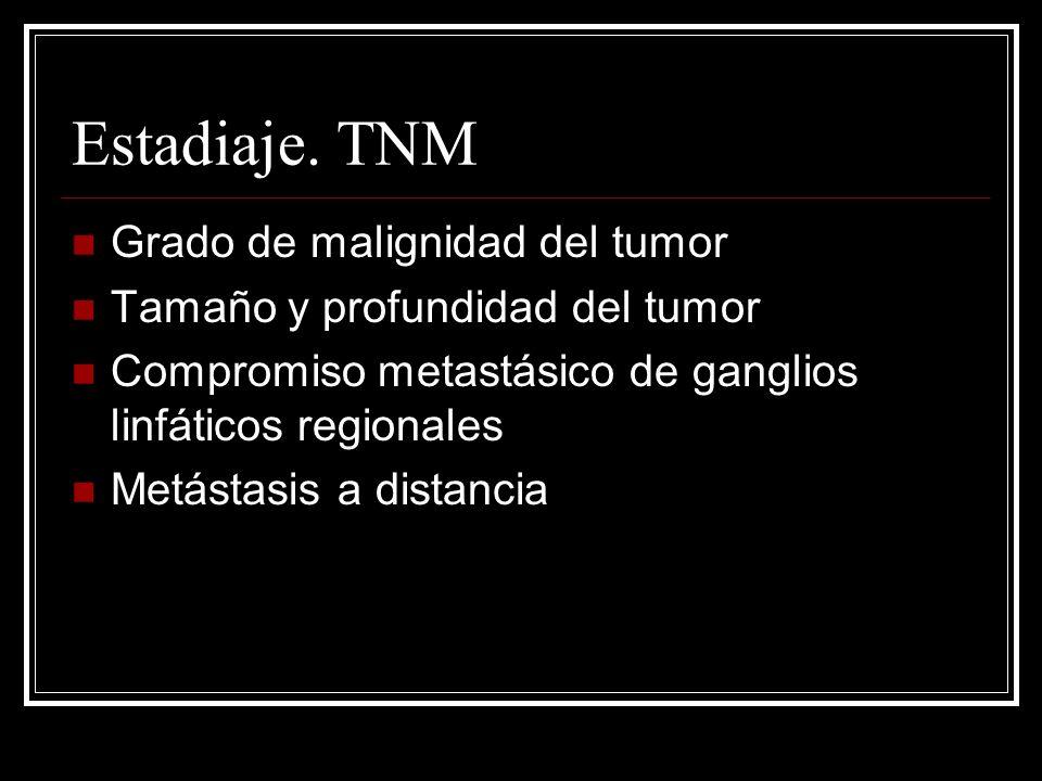 Estadiaje. TNM Grado de malignidad del tumor Tamaño y profundidad del tumor Compromiso metastásico de ganglios linfáticos regionales Metástasis a dist