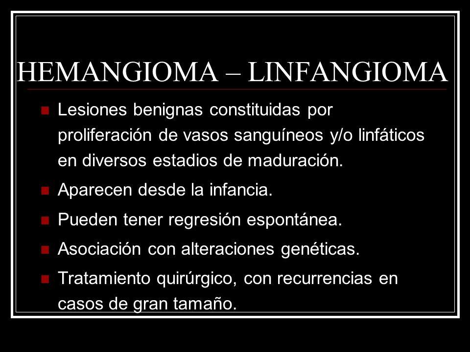 HEMANGIOMA – LINFANGIOMA Lesiones benignas constituidas por proliferación de vasos sanguíneos y/o linfáticos en diversos estadios de maduración. Apare