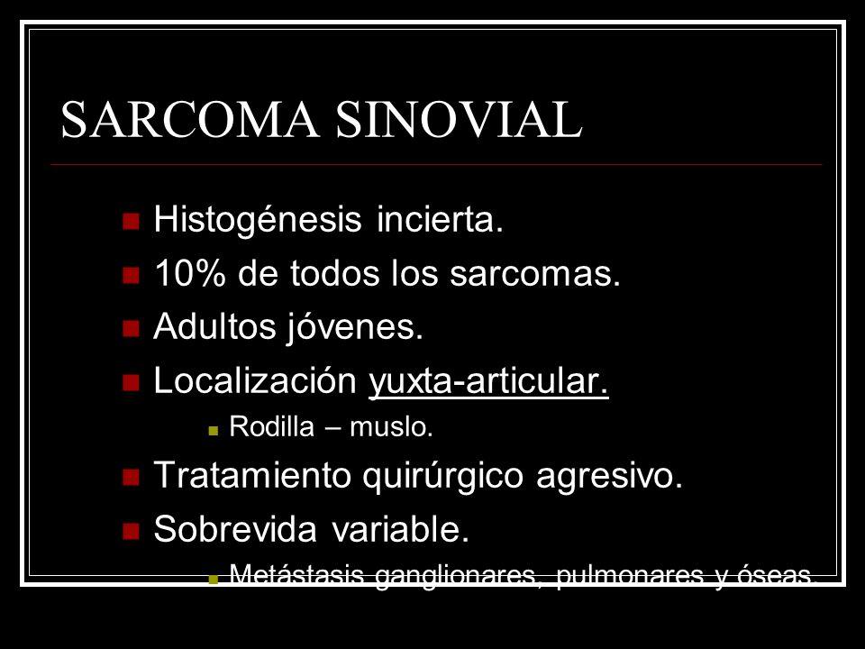 SARCOMA SINOVIAL Histogénesis incierta. 10% de todos los sarcomas. Adultos jóvenes. Localización yuxta-articular. Rodilla – muslo. Tratamiento quirúrg