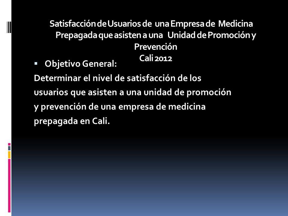 Objetivo General: Determinar el nivel de satisfacción de los usuarios que asisten a una unidad de promoción y prevención de una empresa de medicina prepagada en Cali.
