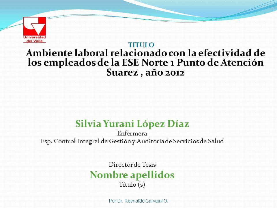 TITULO Ambiente laboral relacionado con la efectividad de los empleados de la ESE Norte 1 Punto de Atención Suarez, año 2012 Por Dr. Reynaldo Carvajal