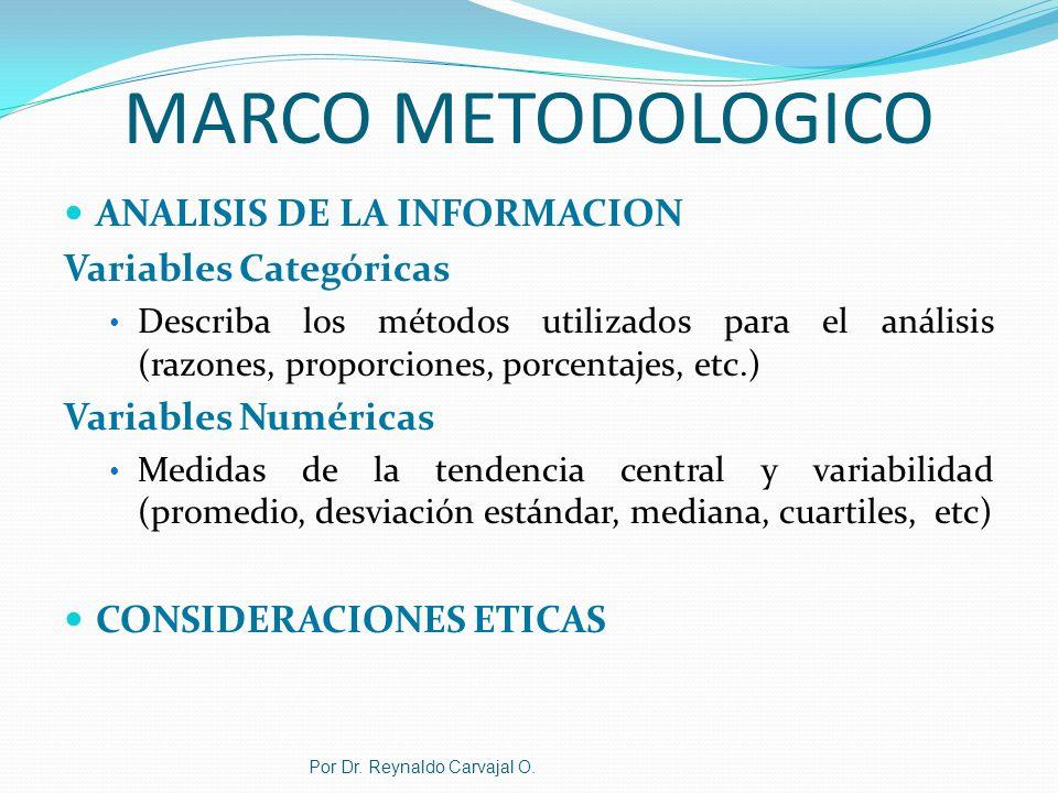 Por Dr. Reynaldo Carvajal O. MARCO METODOLOGICO ANALISIS DE LA INFORMACION Variables Categóricas Describa los métodos utilizados para el análisis (raz