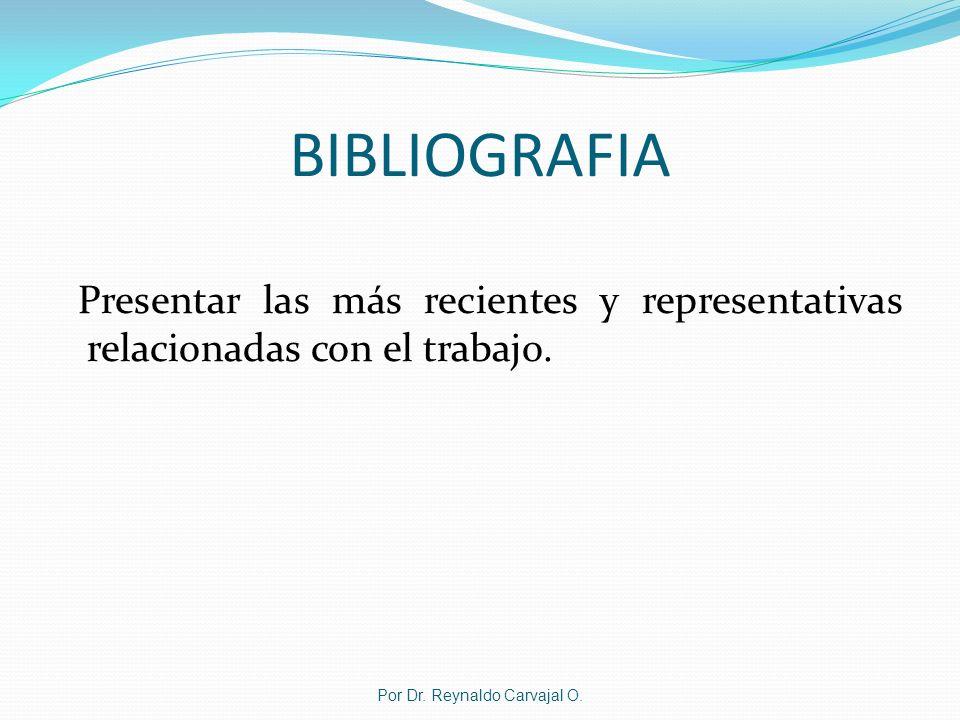 BIBLIOGRAFIA Presentar las más recientes y representativas relacionadas con el trabajo. Por Dr. Reynaldo Carvajal O.