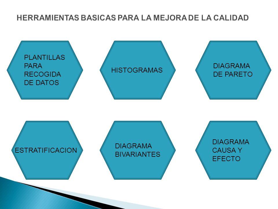 PLANTILLAS PARA RECOGIDA DE DATOS HISTOGRAMAS DIAGRAMA DE PARETO DIAGRAMA CAUSA Y EFECTO DIAGRAMA BIVARIANTES ESTRATIFICACION