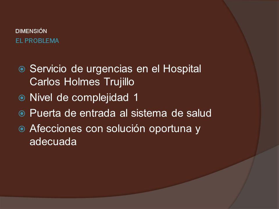 EL PROBLEMA DIMENSIÓN Servicio de urgencias en el Hospital Carlos Holmes Trujillo Nivel de complejidad 1 Puerta de entrada al sistema de salud Afeccio