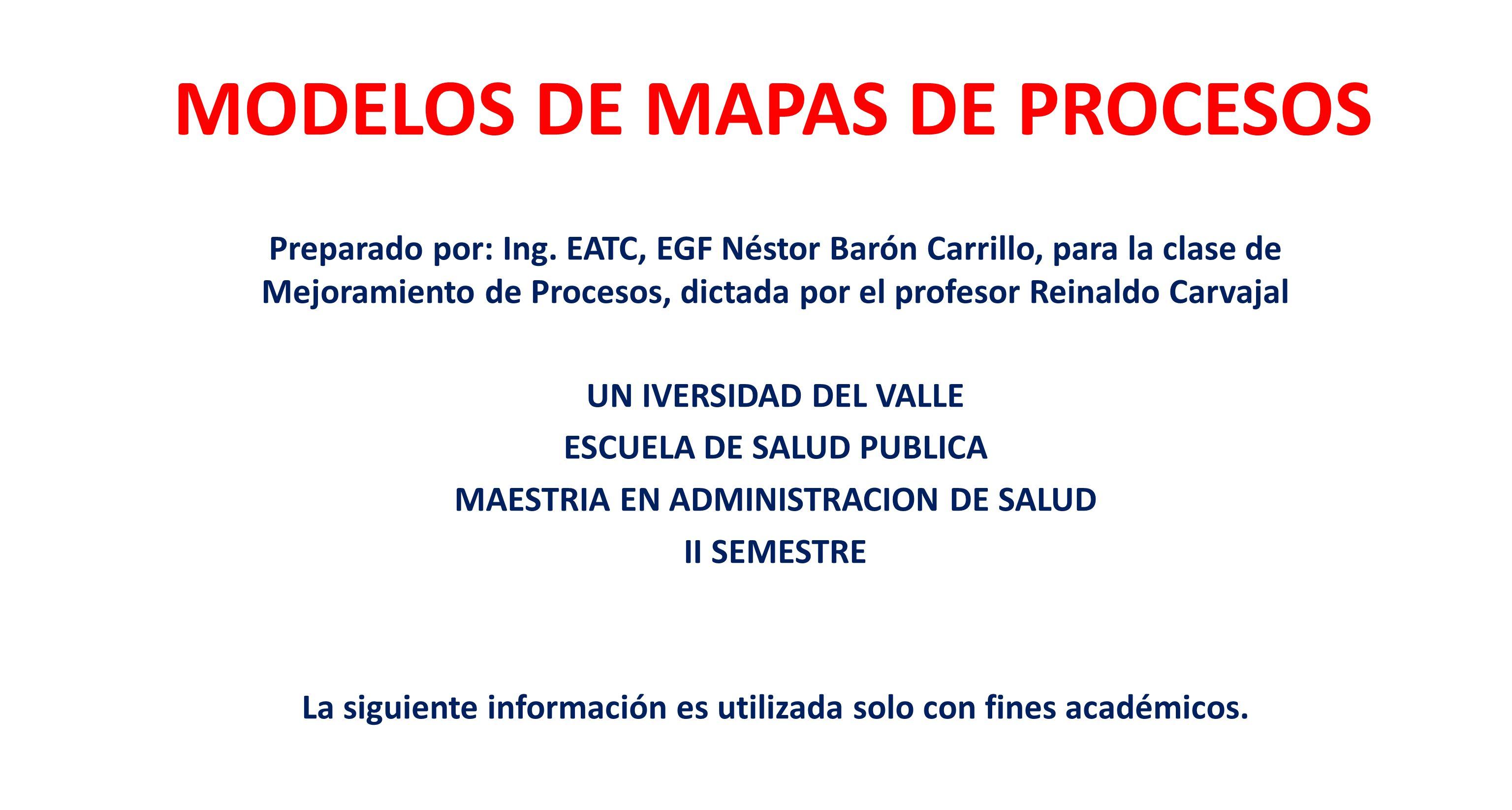 MODELOS DE MAPAS DE PROCESOS Preparado por: Ing. EATC, EGF Néstor Barón Carrillo, para la clase de Mejoramiento de Procesos, dictada por el profesor R