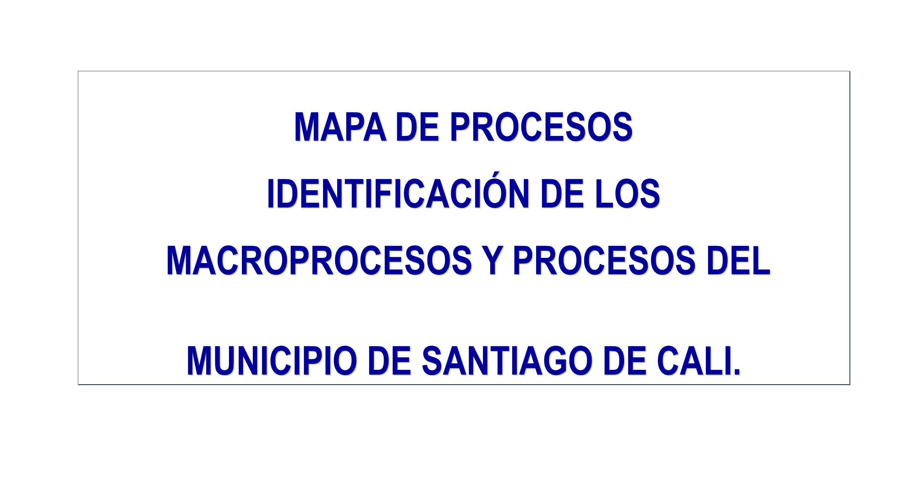 MAPA DE PROCESOS IDENTIFICACIÓN DE LOS MACROPROCESOS Y PROCESOS DEL MUNICIPIO DE SANTIAGO DE CALI.