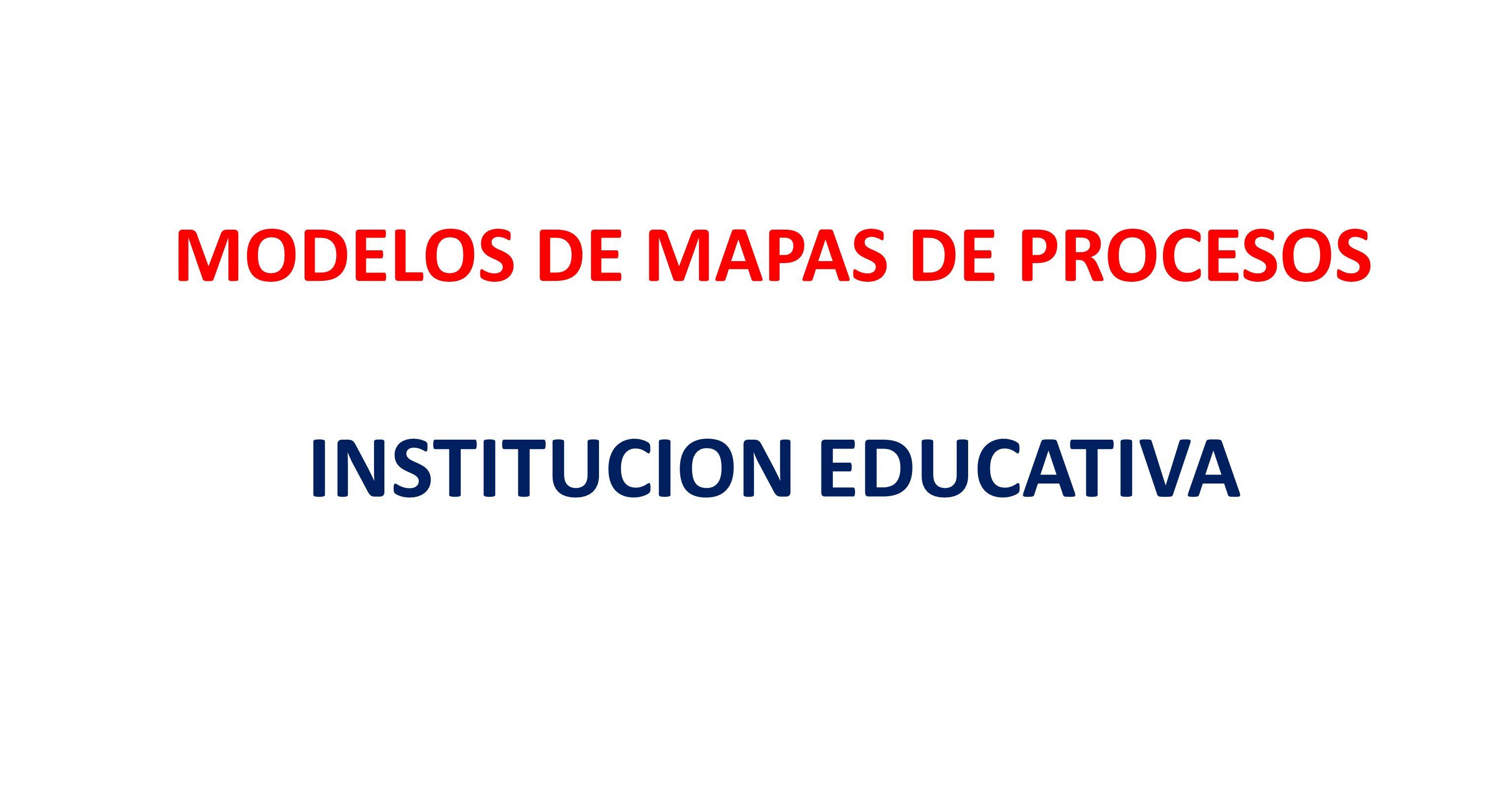 MODELOS DE MAPAS DE PROCESOS INSTITUCION EDUCATIVA