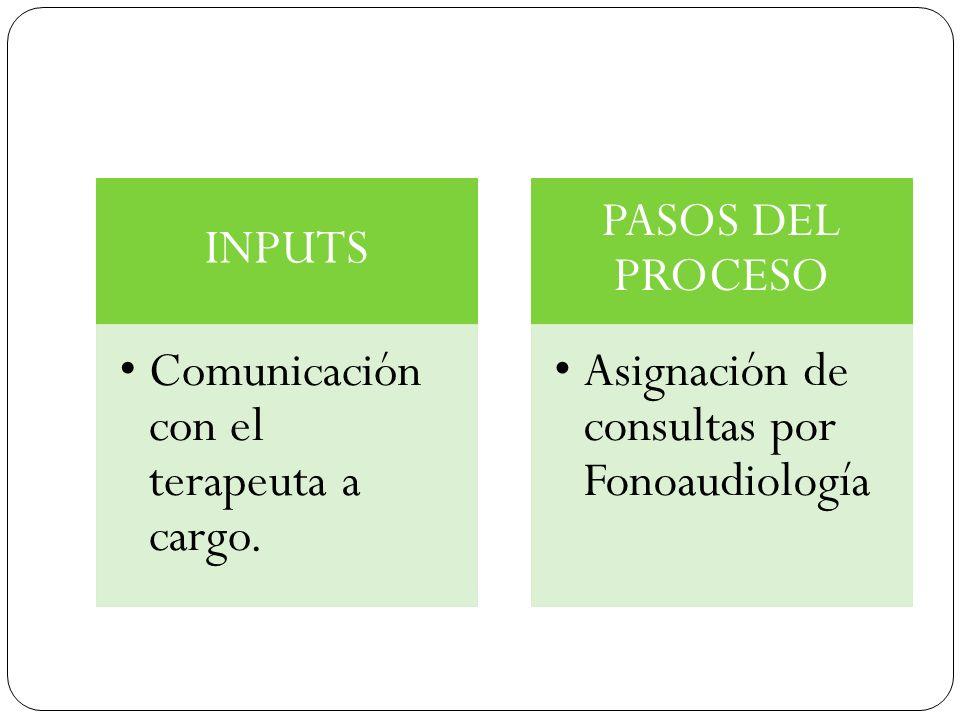 INPUTS Comunicación con el terapeuta a cargo. PASOS DEL PROCESO Asignación de consultas por Fonoaudiología