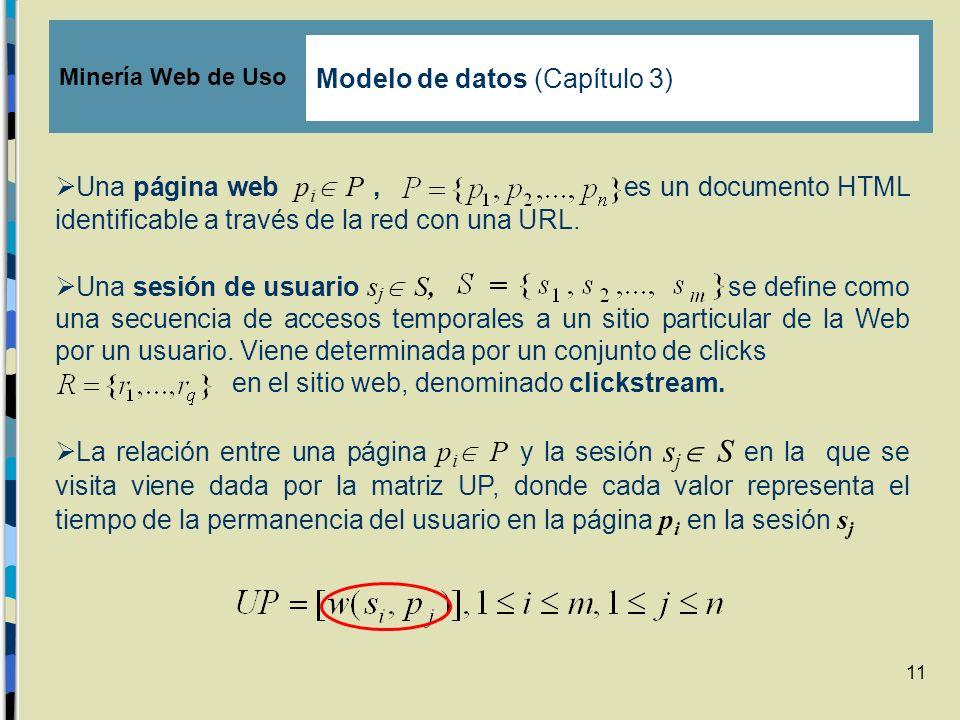11 Una página web p i P, es un documento HTML identificable a través de la red con una URL. Una sesión de usuario s j S, se define como una secuencia