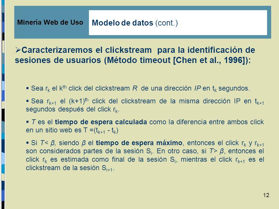 12 Caracterizaremos el clickstream para la identificación de sesiones de usuarios (Método timeout [Chen et al., 1996]): Sea r k el k th click del clic
